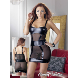 Minikjole i sort Powernet og Wetlook, fræk kjole hvad med noget frækt  sexlegetøj