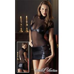 Minikjole med Wetlook Nederdel og BH, super fræk kjole og lingeri sammen med kvalitets sexlegetøj