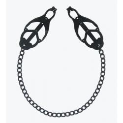 Brystklemmer med kæde i sort