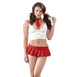 Lak skolepige kostume i rød og hvid