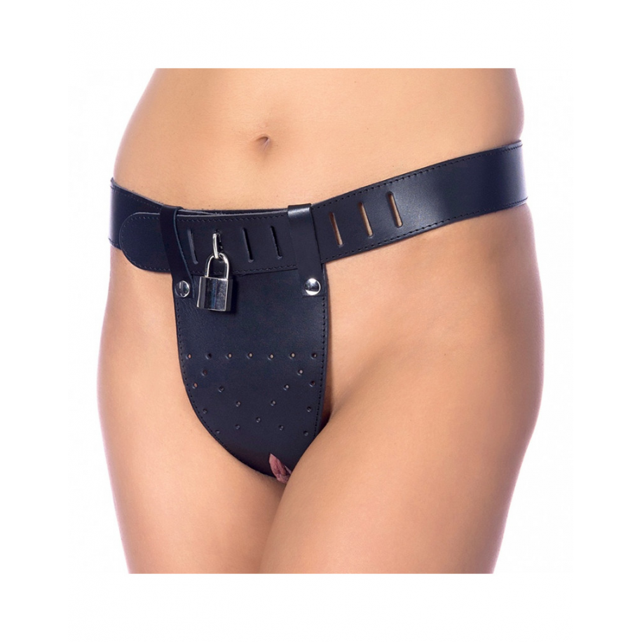 RIMBA - CHASTITY BELT WITH TWO HOLES IN CROTCH. PADLOCK INCLUDED