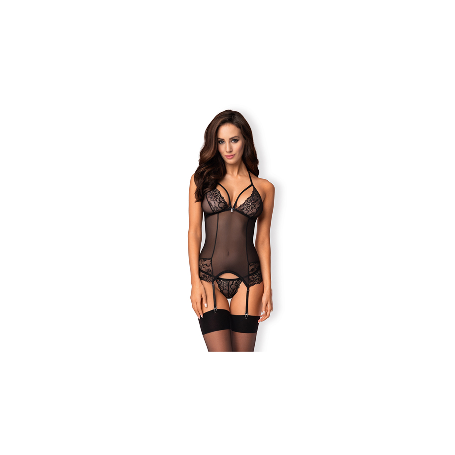 Mesh Garter Corset With Lace