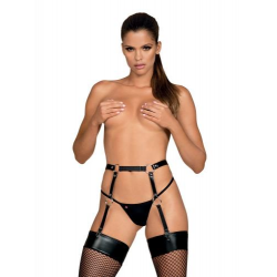 Leather Look Bondage Suspender Belt